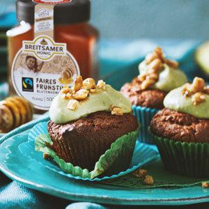 Erdnuss Honigkuchen Muffins mit Avocadofrosting