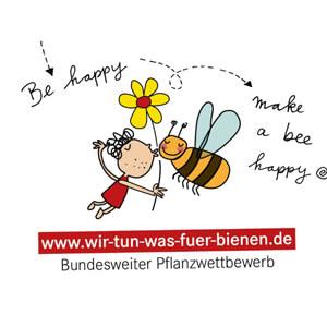 Logo mit vonBiene, Mädchen und Blume für den bundesweiten Pflanzwettbewerb