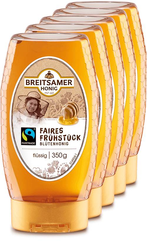 Fairtrade breakfast honey, liquid, 5x350g